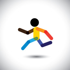 colorful vector icon of a person jogging for better health