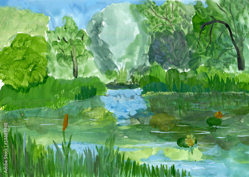 Summer landscape, gouache sketch, imitation of children's drawin