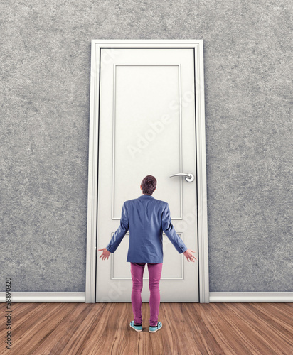 Man before a door