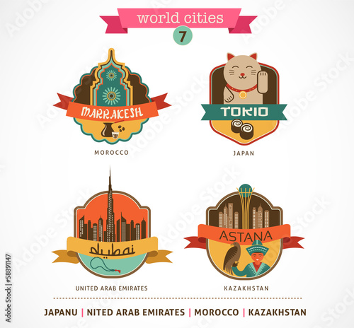 World Cities labels - Marrakesh, Tokio, Astana, Dubai,