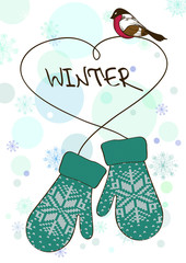 Winter illustration with knitted mittens