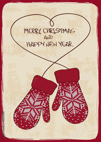 Christmas and New Year card with knitted mittens