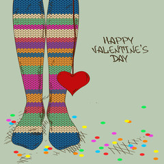 Illustration with girl's feet in knitted stockings