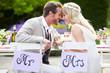 Leinwanddruck Bild - Bride And Groom Enjoying Meal At Wedding Reception