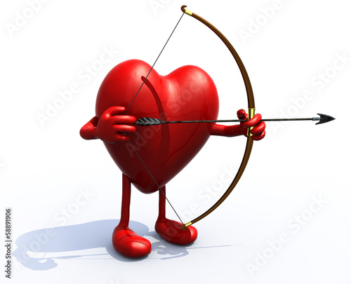heart with arms, legs, bow and arrow