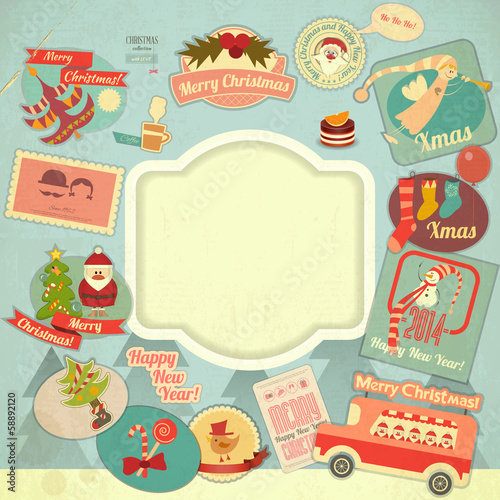 Retro Merry Christmas Label Set