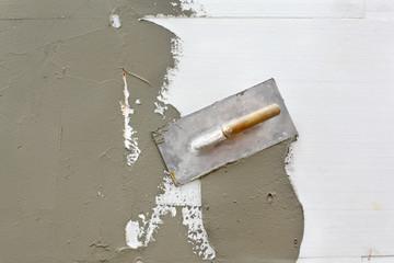 Trowel at mortar finish over styrofoam insulation
