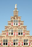 Historic facade in city of Leiden.The Netherlands