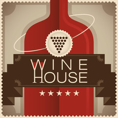 Retro wine house poster.