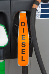 Diesel fuel nozzle at gas station
