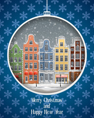 Greeting card with winter town