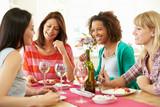 Group Of Women Sitting Around Table Eating Dessert - Fine Art prints