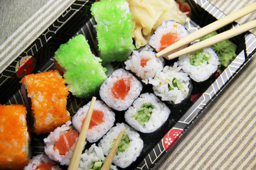 Mix of Japanese sushi and rolls