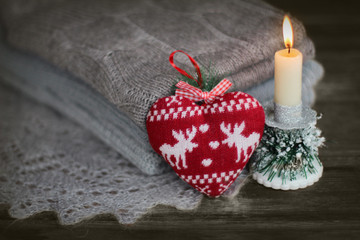 Christmas background with heart from candles