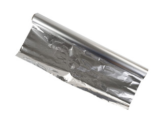 New roll of aluminum foil on a white background.