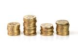 Stacks of British pound coins