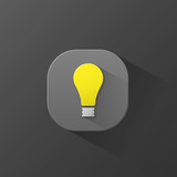 LIGHT BULB ICON (button symbol 3D ideas innovation)