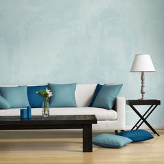 Blue contemporary style, romantic interior living room