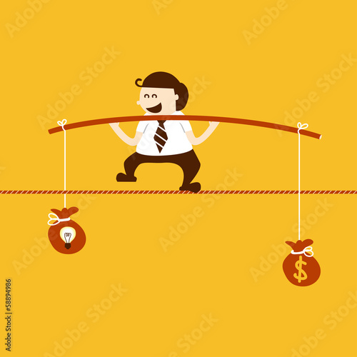 Business man balancing on the rope with idea and money