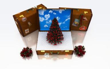 Natale, regali, ferie, neve, viaggiare, valigie, turismo, 3d