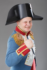 Actor dressed as Napoleon. Historical costume.