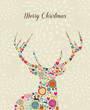 Merry Vintage christmas elements reindeer greeting card