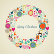Merry Vintage christmas elements wreath