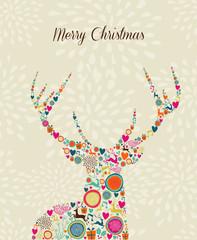 Merry Vintage christmas elements reindeer greeting card