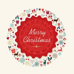Merry Christmas vintage postal card illustration