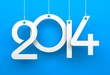White tags with 2014 on blue background