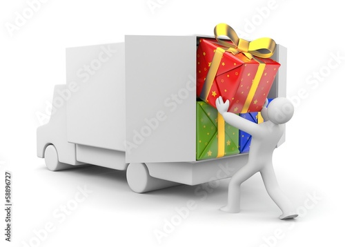 3d person unload car with gift