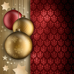 Christmas baubles, stars and blank space for text