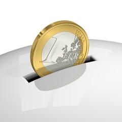 Ein Euro verschwindet im Sparschwein