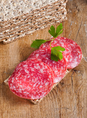 Crisp bread with salami