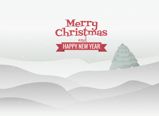 Vector Merry Christmas Landscape