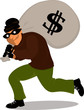 Thief in a mask carrying a money bag with a dollar sign