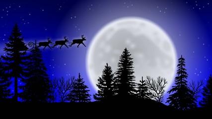 Weihnachtsmann mit Rentierschlitten über Waldkulisse vor Mond