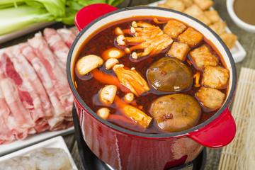 Szechuan Hot Pot - Spicy Chinese hot pot meal.