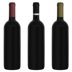 Three bottles red wine