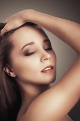 glamor closeup portrait beautiful sexy young brunette woman
