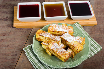 French toast sticks with syrups
