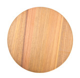 round wooden cutting board on white background