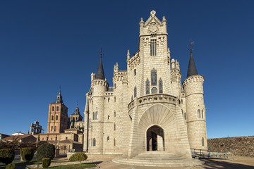 Vievw of eoiscopal palace and cathedral of Astorga, Leon, Castil