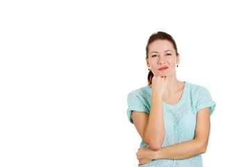 Skeptical woman, smirk employee