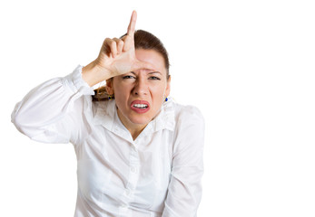 Bully woman showing loser sign with hands gesture