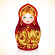 Red and gold colors Russian doll, Matryoshka