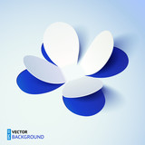 Blue cutout paper vector plower