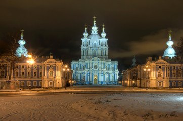 Winter night illuminated view of St-Petersburg.
