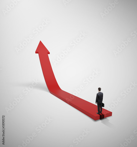 businessman and red arrow