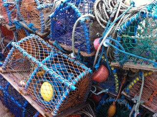 pile of old lobster pots